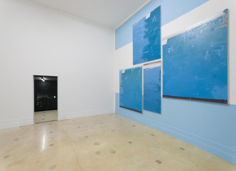 Martin Borowski, Pool 2, 3, 6, 7, Nachtbild, 2015, oil on canvas